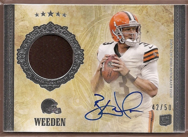 2012 Topps Five Star #152 Brandon Weeden JSY AU/50 RC