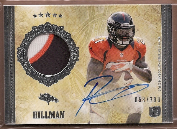 2012 Topps Five Star #181 Ronnie Hillman JSY AU/300 RC