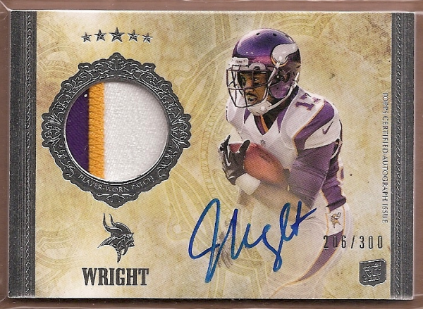 2012 Topps Five Star #185 Jarius Wright JSY AU/300 RC