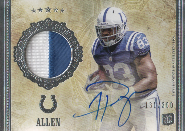 2012 Topps Five Star #190 Dwayne Allen JSY AU/300 RC