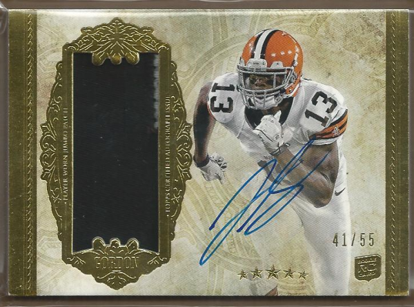 2012 Topps Five Star Rookie Autographed Patch Gold #169 Josh Gordon JSY AU