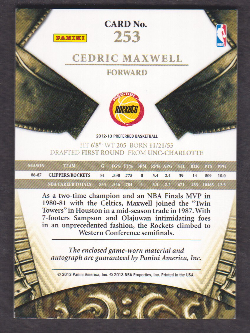 2012-13 Panini Preferred #253 Cedric Maxwell SL JSY AU/29 back image