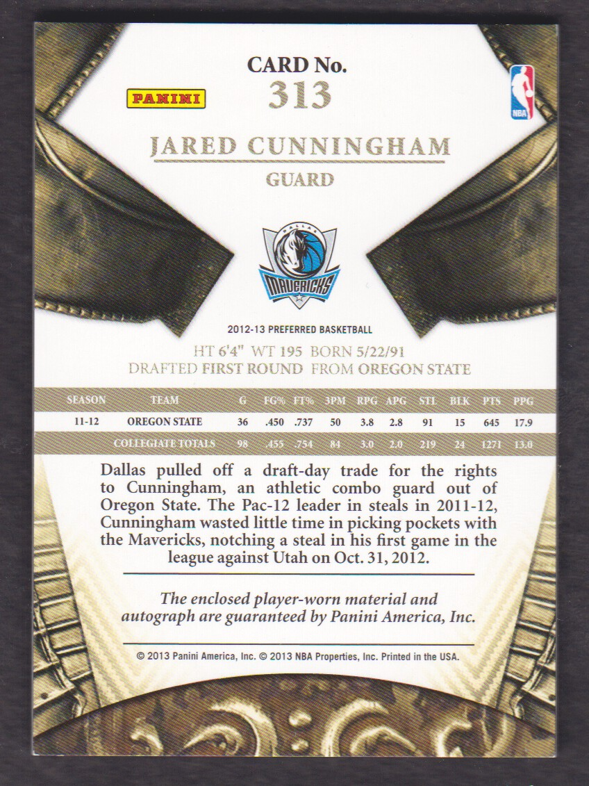 2012-13 Panini Preferred #313 Jared Cunningham SL JSY AU/99 back image