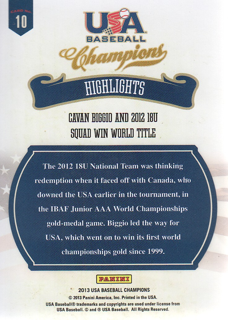 2013 USA Baseball Champions Highlights #10 Cavan Biggio back image
