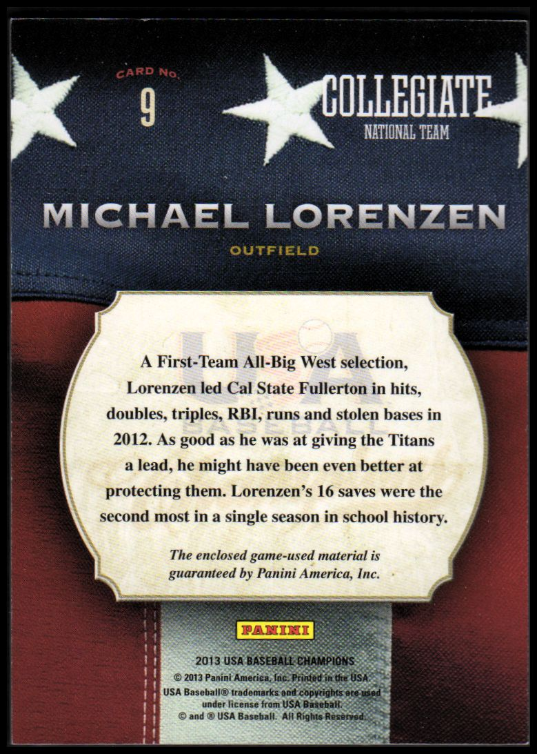 2013 USA Baseball Champions Game Gear Bats #9 Michael Lorenzen back image