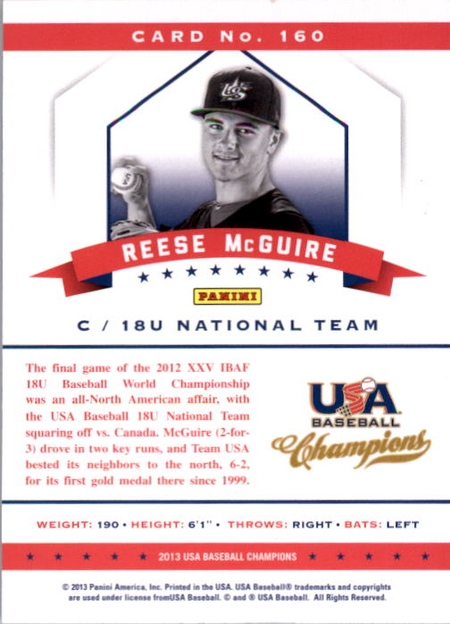 2013 USA Baseball Champions National Team Mirror Blue #160 Reese McGuire back image