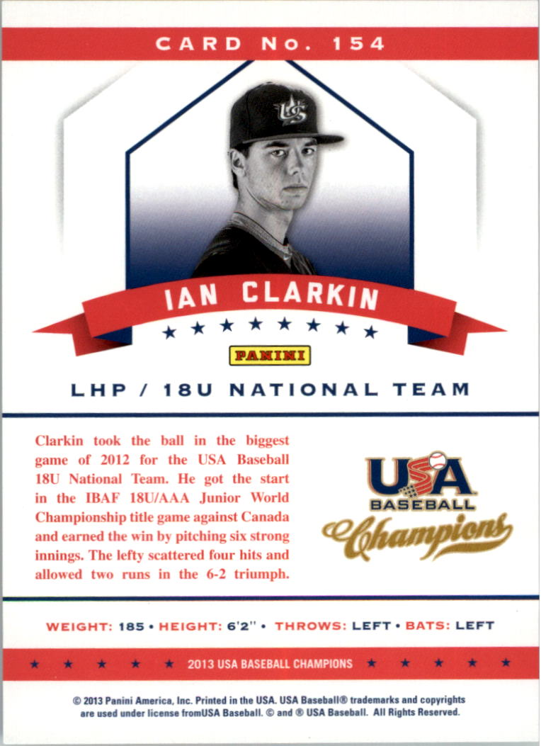 2013 USA Baseball Champions National Team Mirror Red #154 Ian Clarkin back image