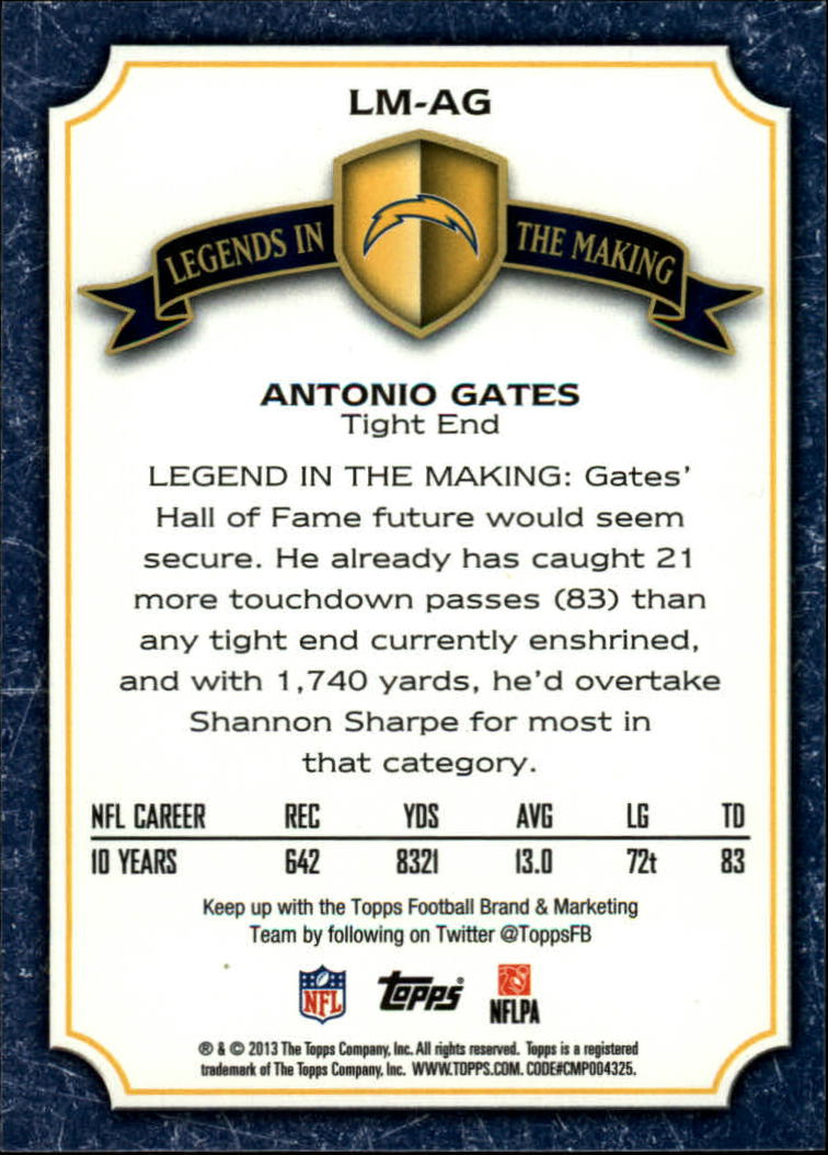 2013 Topps Legends In The Making #LMAG Antonio Gates back image