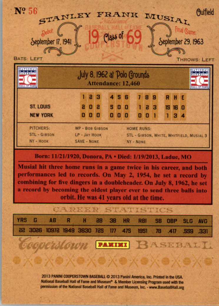 2013 Panini Cooperstown Green Crystal #56 Stan Musial back image