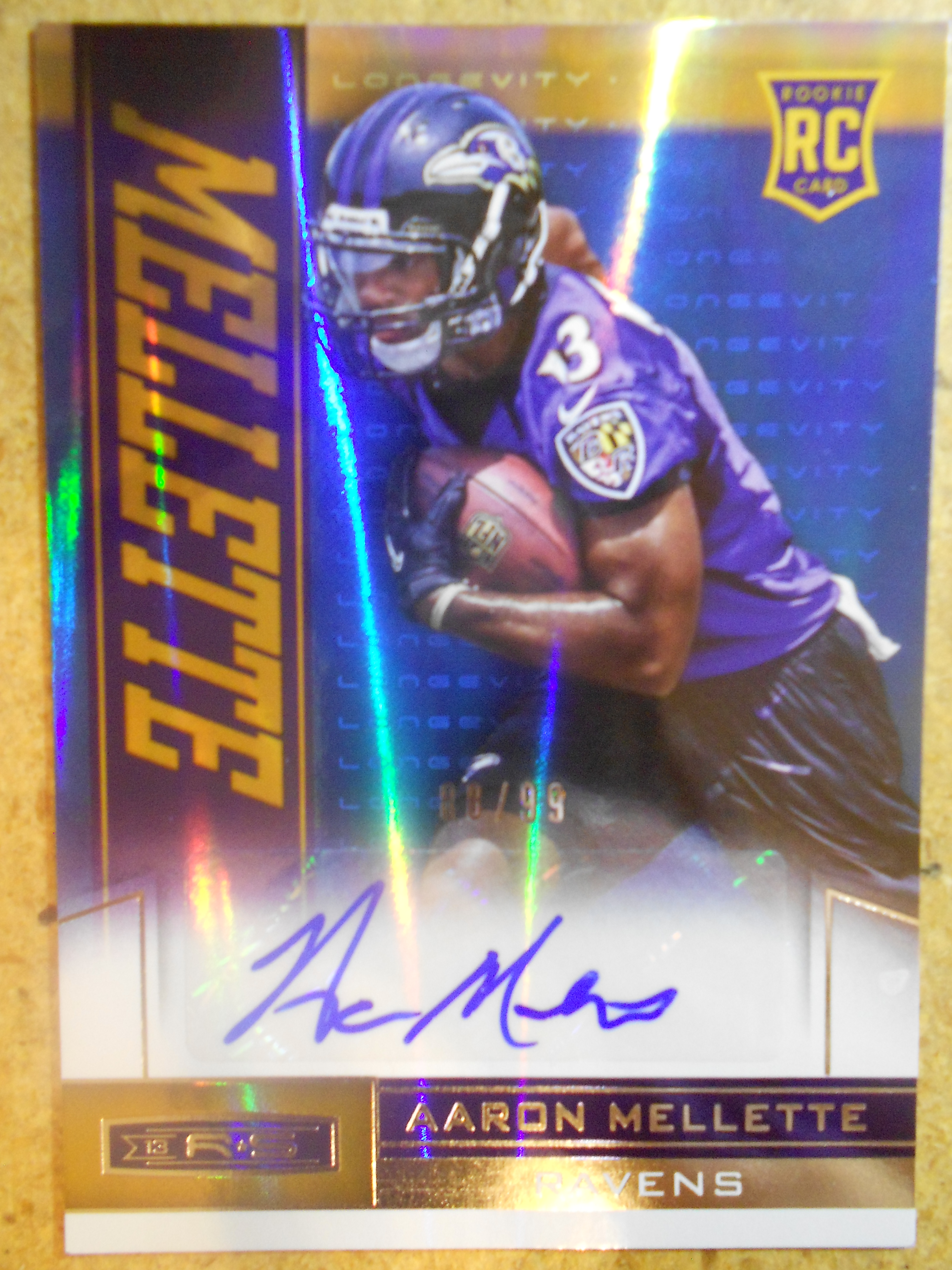 2013 Rookies and Stars Rookie Autographs Longevity Holofoil #102 Aaron Mellette
