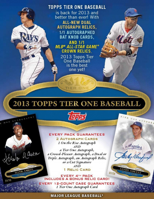 2013 Topps Tier One Relics Baseball Hobby Box