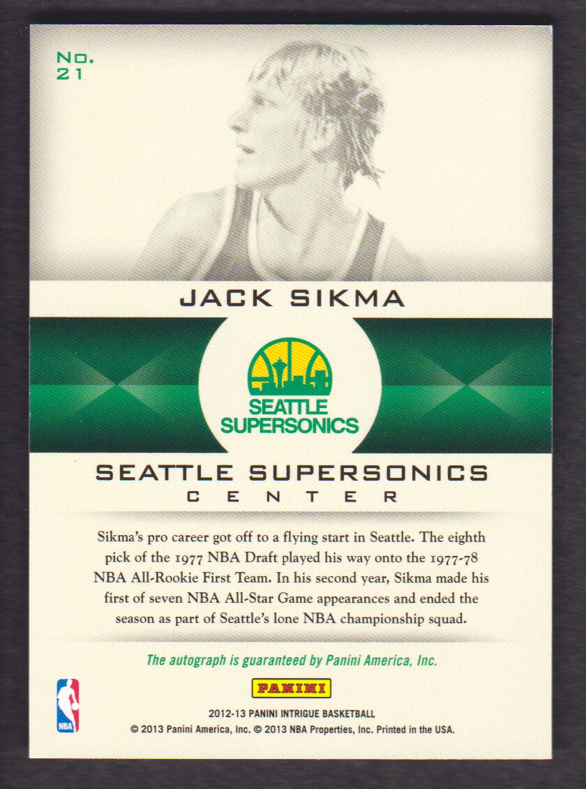 2012-13 Panini Intrigue Immortalized Autographs #21 Jack Sikma/299 back image