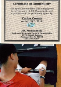 Carlos Correa Signed Black BAT Autograph AUTO w/COA Houston Astros back image