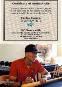 Carlos Correa Signed Natural BAT Autograph AUTO w/COA Houston Astros back image