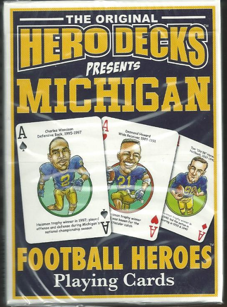 Michigan Wolverines NCAA Football Hero Decks Playing Cards Poker Sized 52 Card Deck