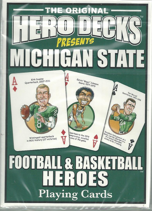 Michigan State Spartans NCAA Football & Basketball Hero Decks Playing Cards Poker Sized 52 Card Deck