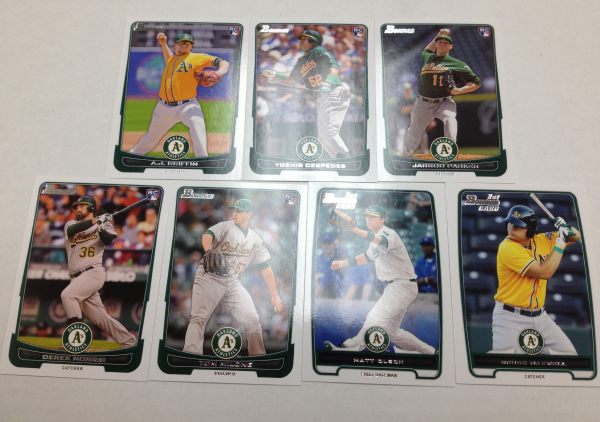 2012 Bowman Draft Oakland Athletics Team Set 7 Cards Yoenis Cespedes RC