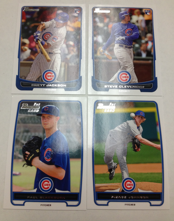 2012 Bowman Draft Chicago Cubs Team Set 4 Cards