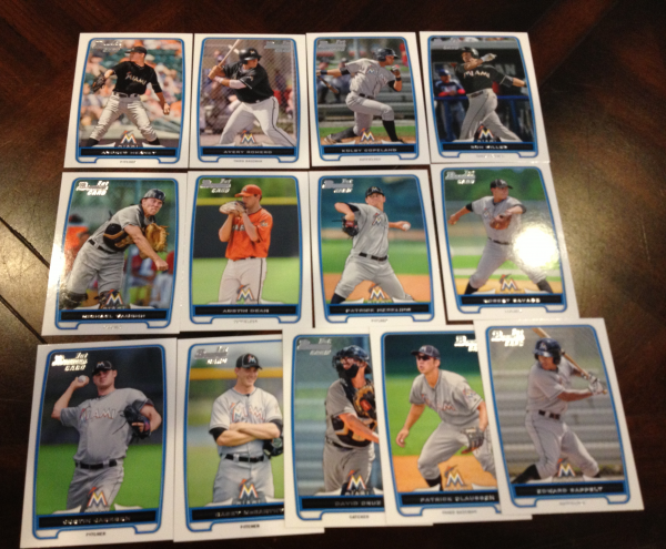 2012 Bowman Draft Miami Marlins Team Set 13 Cards