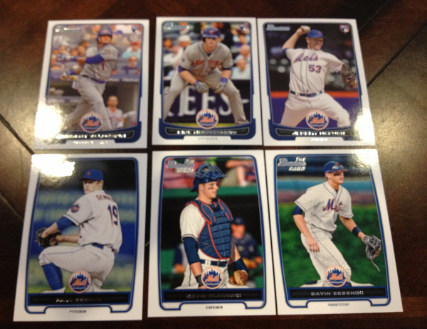2012 Bowman Draft New York Mets Team Set 6 Cards