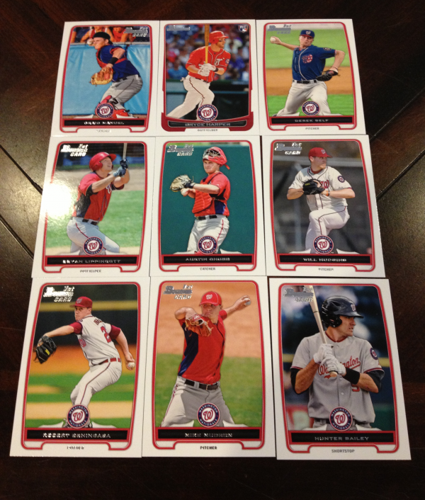 2012 Bowman Draft Washington Nationals Team Set 9 Cards Bryce Harper RC