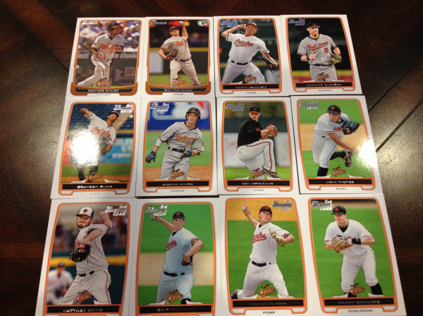 2012 Bowman Draft Baltimore Orioles Team Set 12 Cards
