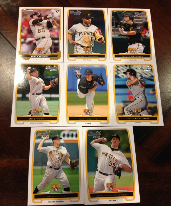 2012 Bowman Draft Pittsburgh Pirates Team Set 8 Cards