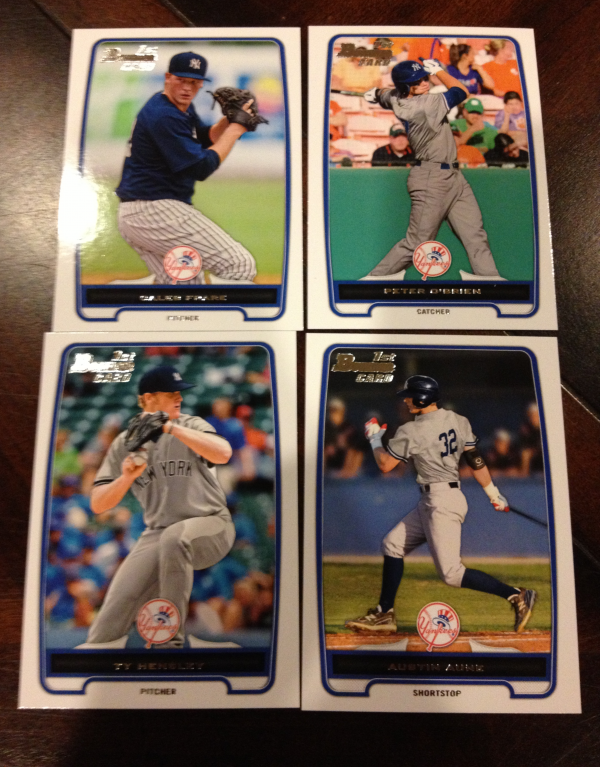 2012 Bowman Draft New York Yankees Team Set 4 Cards