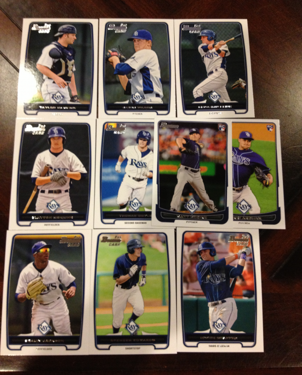 2012 Bowman Draft Tampa Bay Rays Team Set 10 Cards