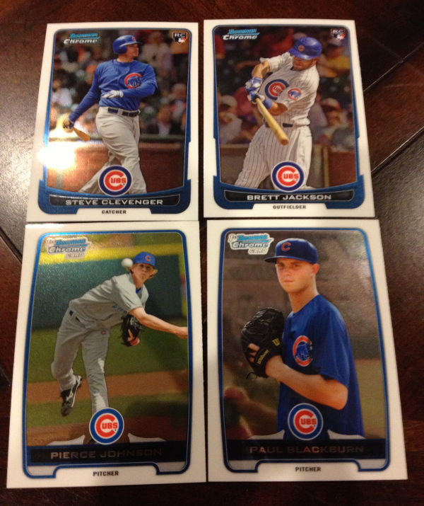 2012 Bowman Chrome Draft Chicago Cubs Team Set 4 Cards
