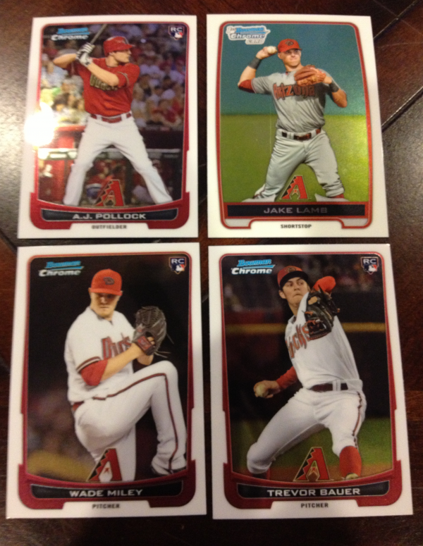 2012 Bowman Chrome Draft Arizona Diamondbacks Team Set 4 Cards Wade Miley RC