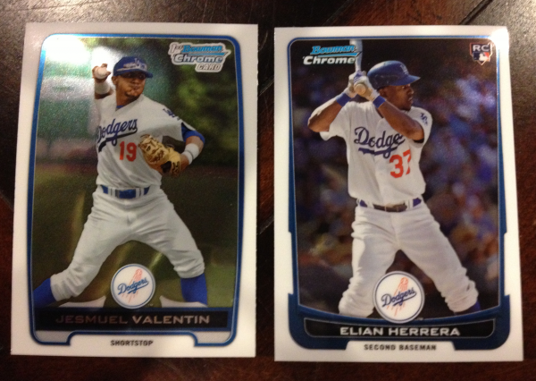 2012 Bowman Chrome Draft Los Angeles Dodgers Team Set 2 Cards
