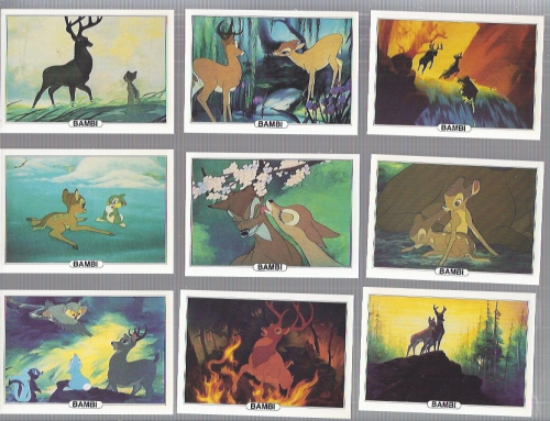 1982 Treat Hobby Disney Bambi Complete 18 card set back image