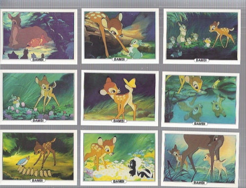 1982 Treat Hobby Disney Bambi Complete 18 card set