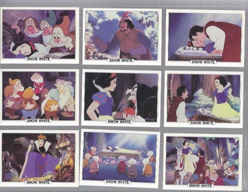 1982 Treat Hobby Disney Snow White Complete 18 card set back image