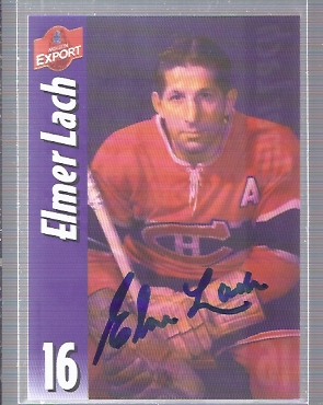 Elmer Lach Molson Export AUTOGRAPH Blue Ink #36 Montreal Canadiens