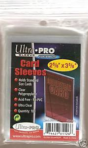 BOX OF 10,000 SLEEVES : 100 PACKS OF ULTRA PRO CARD COLLECTOR SAFE POLY SLEEVES THAT FIT IN TOP LOADERS WITH 100 SLEEVES PER PACK FOR A TOTAL OF 10,000 CRYSTAL CLEAR SLEEVES WITH NO PVC  !!!!!!!!!!! front image