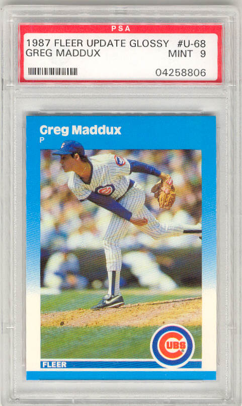 1987 Fleer Update Glossy #U-68 GREG MADDUX PSA-9 MINT ROOKIE RC Chicago Cubs