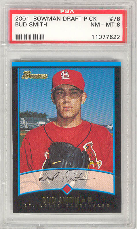 2001 Bowman Draft Picks #BDP78 BUD SMITH PSA-8 NM-MT ROOKIE RC St Louis Cardinals