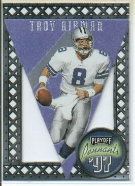 1997 Playoff Contenders Pennants Blue #19 Troy Aikman