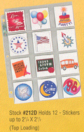 Ultra-Pro #212D  Holds 12 - Stickers to 2 1/4 x 2 1/2 (10 pages)