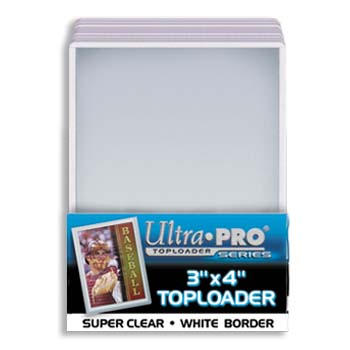 Ultra-Pro #81161  3 x 4 Top Loader White Border for Regular Cards (25/pack)