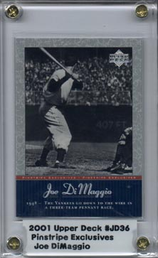 2001 Upper Deck Pinstripe Exclusives DiMaggio #JD36 Joe DiMaggio front image