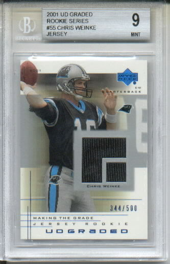 2001 UD Graded Rookie Jersey #55 Chris Weinke Event-Worn Jersey Parallel RC BGS Graded Mint 9 Serial #'d/500