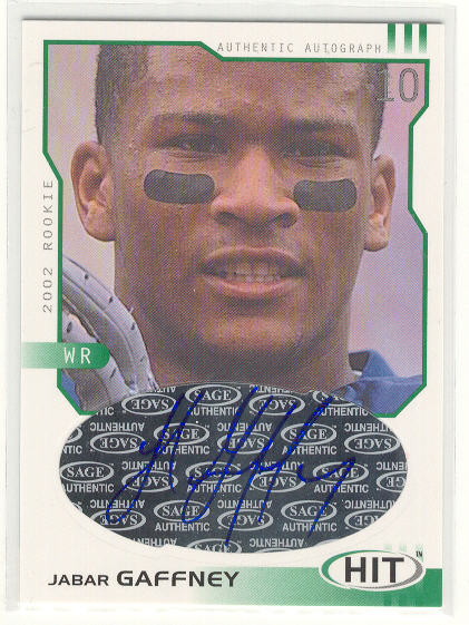 2002 SAGE HIT Autographs Emerald #H10 Jabar Gaffney