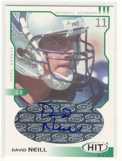 2002 SAGE HIT Autographs Emerald #H11 David Neill