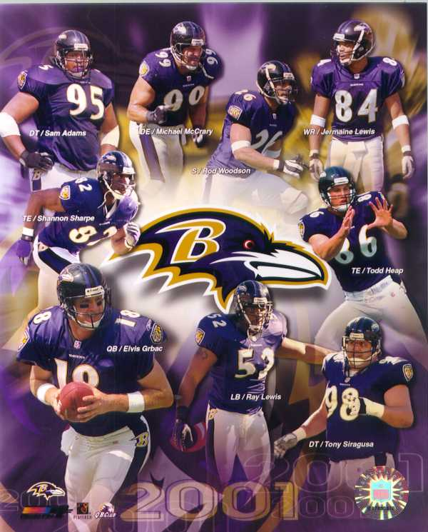 Baltimore Ravens 2001 Team color 8 x 10 photo