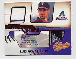 2002 Fleer Authentix Jersey AuthenTIX #JALG Luis Gonzalez SP