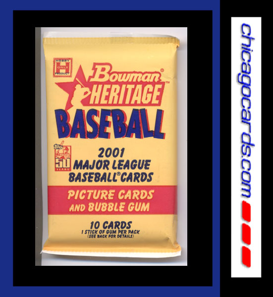 2001 Bowman Heritage Baseball HOBBY Pack,10 Cards/Pack, Look for Rookie Cards (RC) of Albert Pujols Ichiro Suzuki Travis Hafner and more