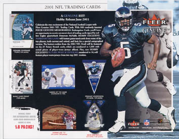 2001 Fleer Genuine Football Hobby Box, Factory Sealed 